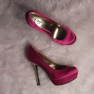 Candies Satin Magenta Pumps Glitter Heels